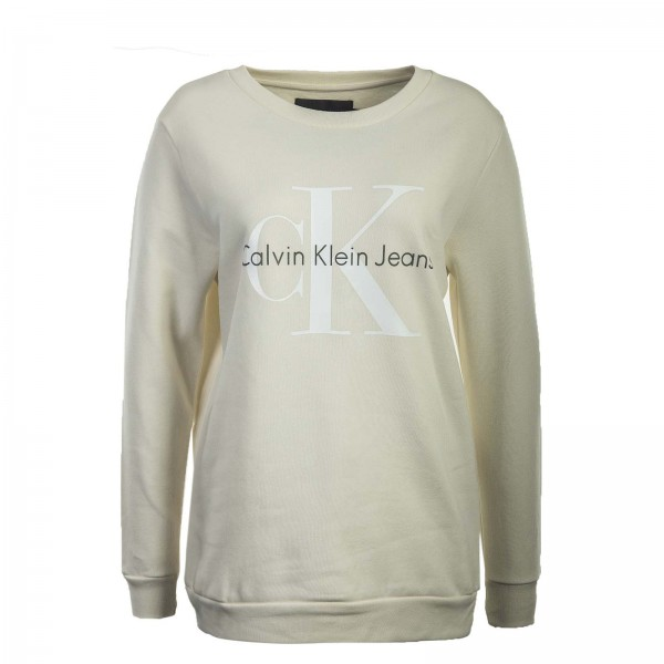 CK Wmn Sweat Crew Neck Beige White