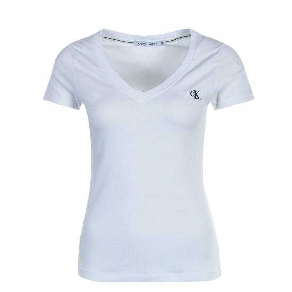 Damen T-Shirt Embroidery White