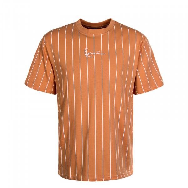 Herren T-Shirt Small Signature Pinstripe Coral White