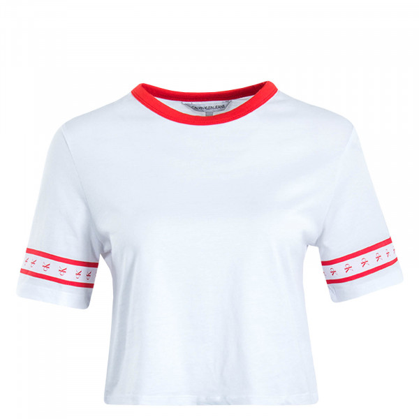 Damen T-Shirt Crop Monogram Tape White Red