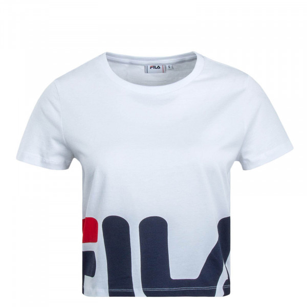 Damen T-Shirt Crooped Early White Navy