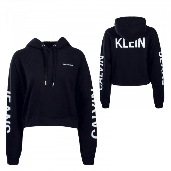 Damen Hoody Cropped Institutional Black White