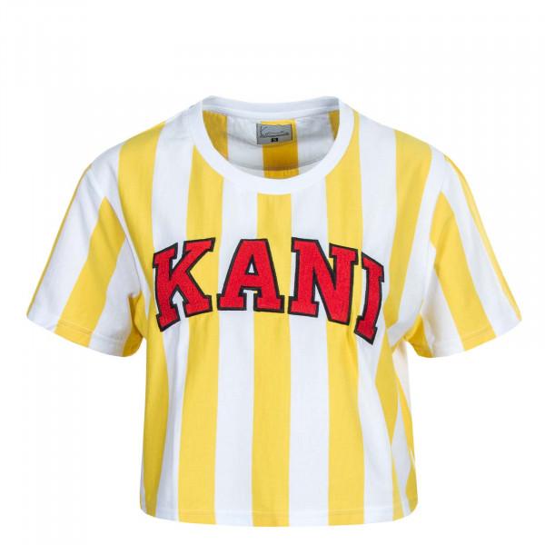 Damen Crop T-Shirt Serif Stripe Tee White Yellow Red