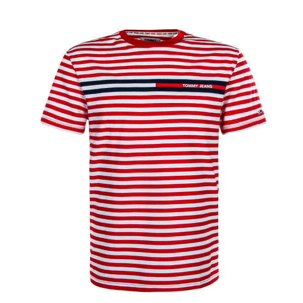 Herren T-Shirt TJM Banded Stripe Red White
