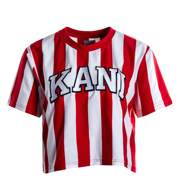 Damen T-Shirt College Stripe White Red