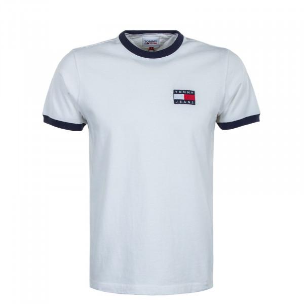 Herren T-Shirt - Badge Ringer Tee - White / Twilight Navy