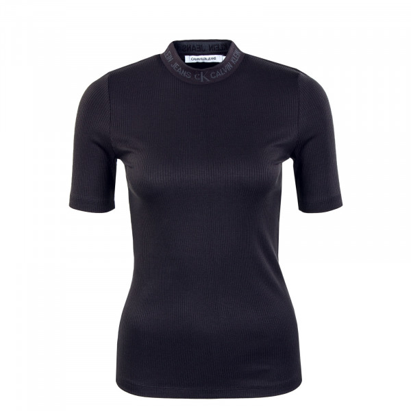 Damen Shirt - Logo Trim Rib Tee - Black