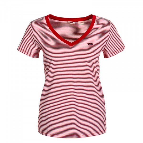 Damen T-Shirt - V-Neck Analise - Stripe Red