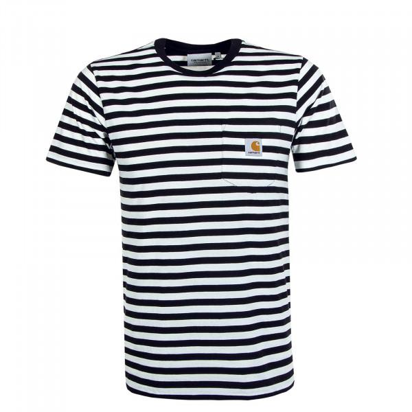Herren T-Shirt Parker Pocket Stripe Black White
