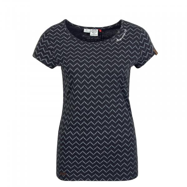 Damen T-Shirt Mint Zig Zag Black
