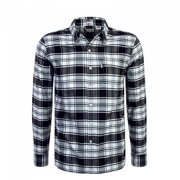Baumwollhemd Herren Sunset 1 Pocket Black White