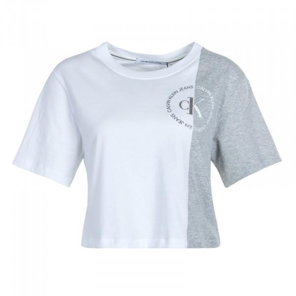 Damen T-Shirt Crop Round Logo Block Grey Wht