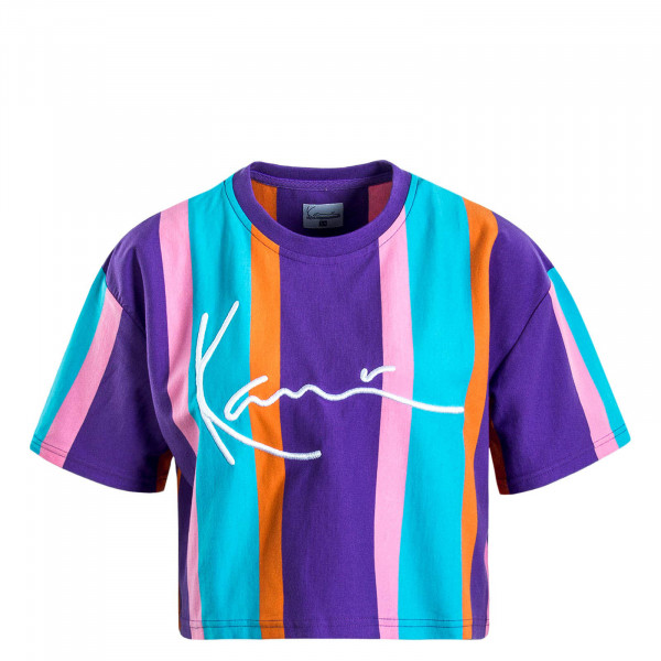 Damen T-Shirt Signature Stripe Purple Blue