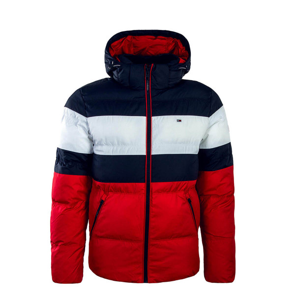 Tommy Jkt Rugby Stripe Navy White Red