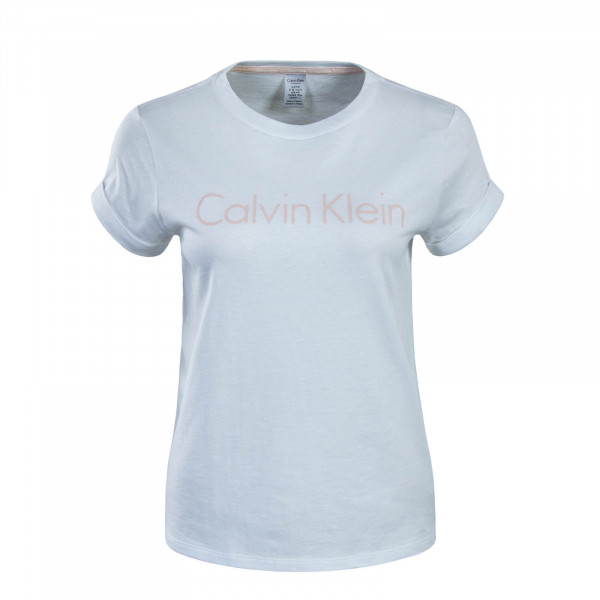 Damen T-Shirt Crew Neck Sleep White Lachs