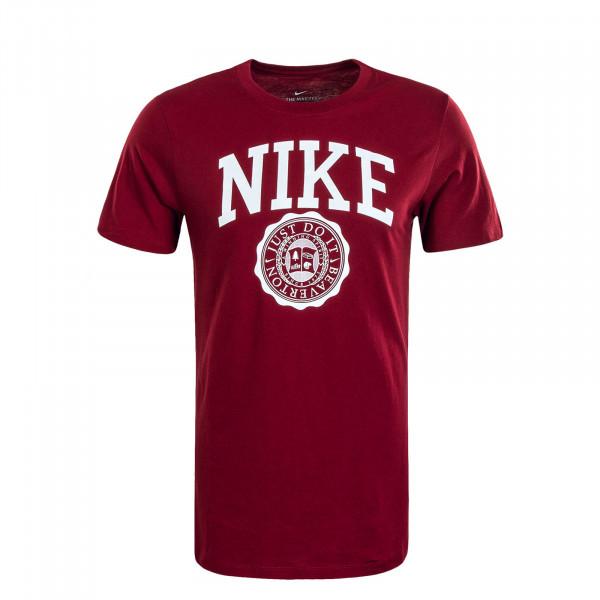 Herren T-Shirt Athletic Bordeaux White
