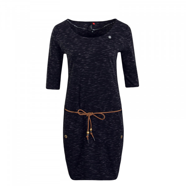 Damen Kleid Tanya Slub Black Melange