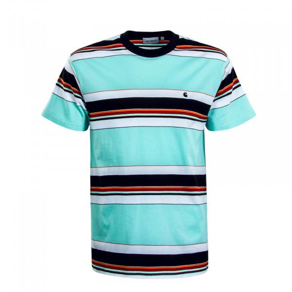 Herren T-Shirt Ozark Stripe Mint Black White