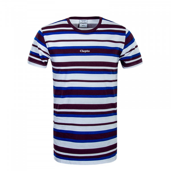 Herren T-Shirt Multi Stripe 3 Bordeaux White Royal