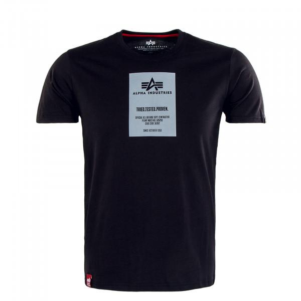 Herren T-Shirt - Reflective Label Print - Black