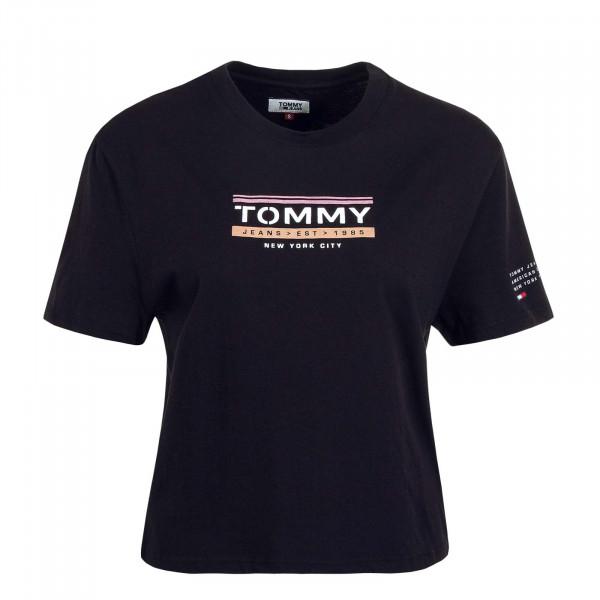 Damen T-Shirt Sleeve Detail Black