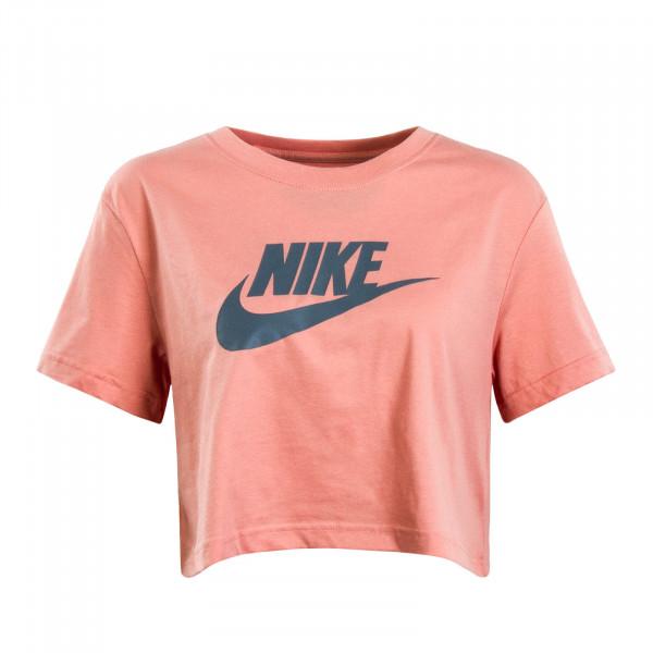 Damen T-Shirt Crop Essential Peach Grey