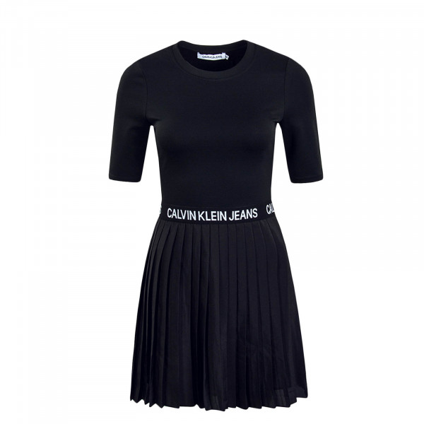 Damen Kleid Pleated Black White