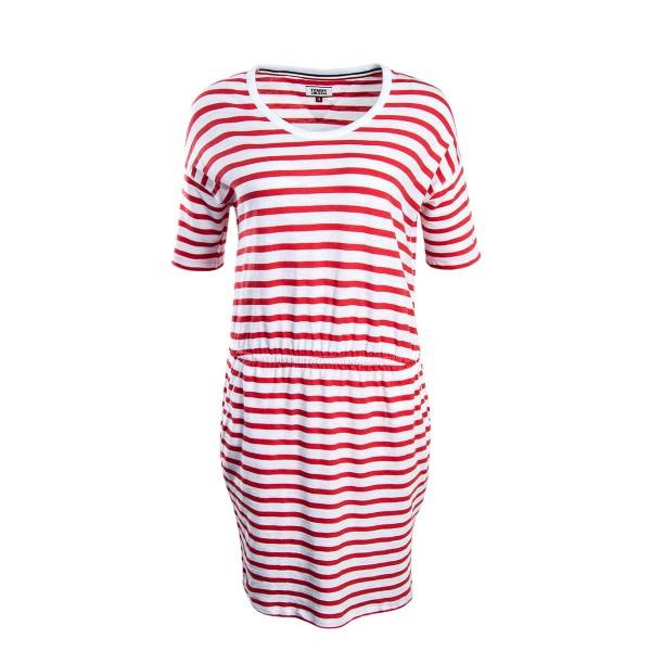 Tommy Wmn Dress Stripe White Coral
