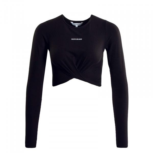 Damen Crop Shirt - Crossover Hem Rib - Black