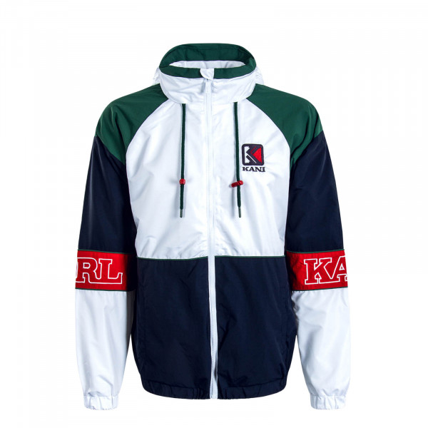 Herren Jacke Retro Block White Navy Green