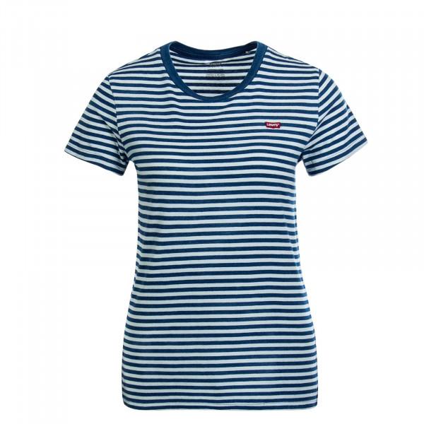 Damen T-Shirt Raita Stripe Indigo White