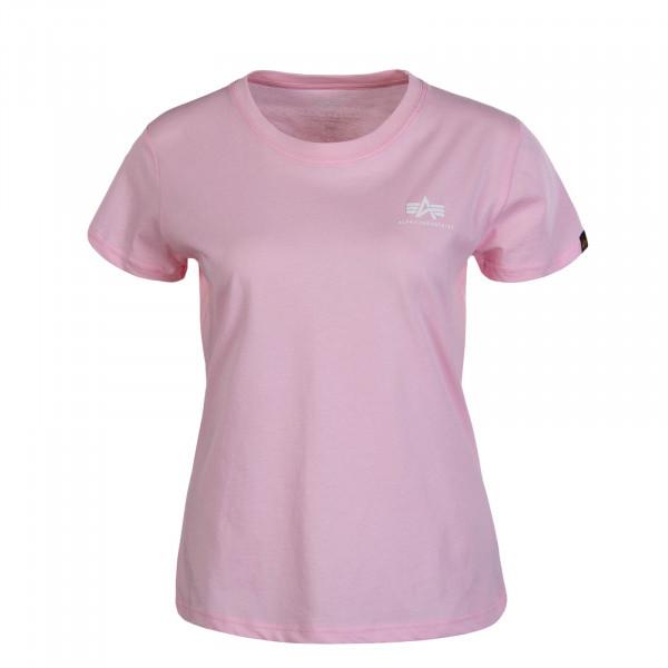 Damen T-Shirt Basic Small Logo Pastel Pink