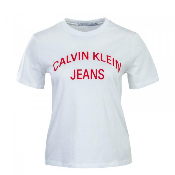 Damen T-Shirt Crop Curved Logo White Red