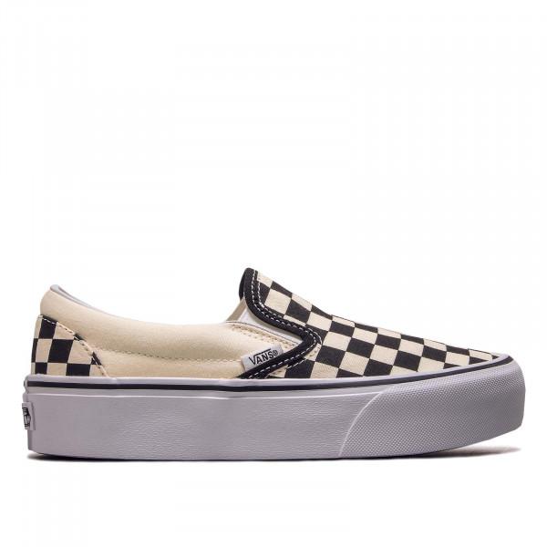 Damen Sneaker Classic Slip On Platform Black White