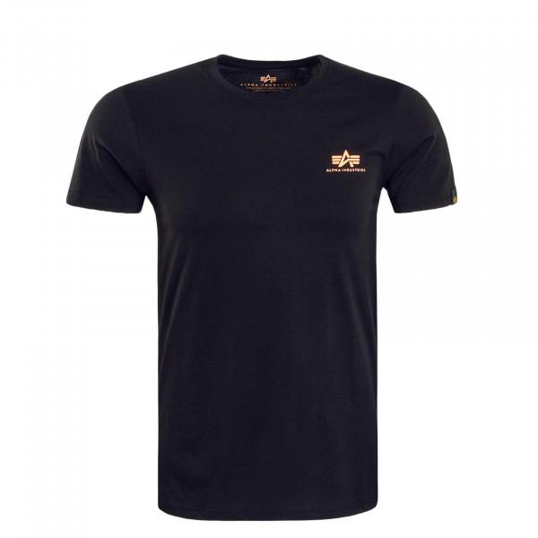 Herren T-Shirt Small Basic Black Neon Orange
