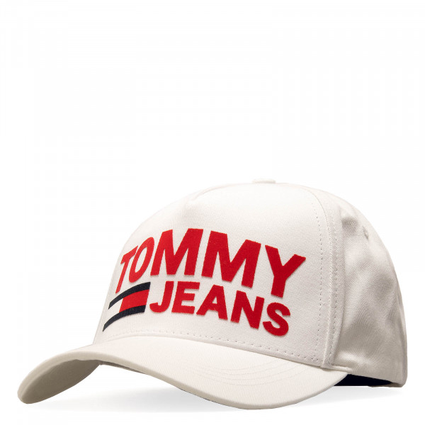 Tommy Cap Flock Print White Red