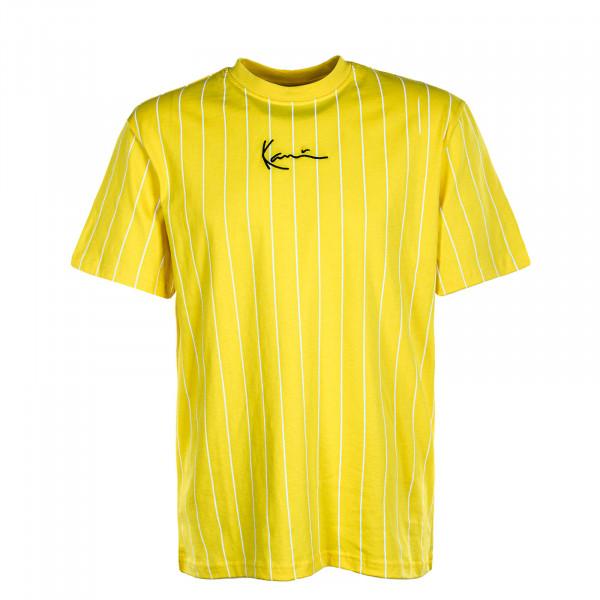 Herren T-Shirt Small Signature Pinstripe Yellow White