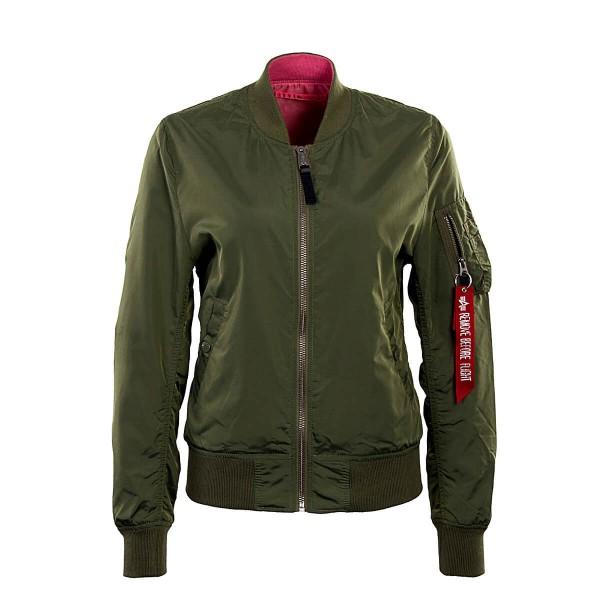 Alpha Wmn Jkt MA1 Reversible Green Pink
