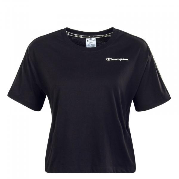 Damen T-Shirt Crop Black