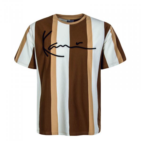 Herren T-Shirt Signature Stripe Beige Off White Brown