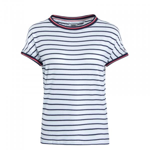 Damen T-Shirt Crepe Stripe White Navy