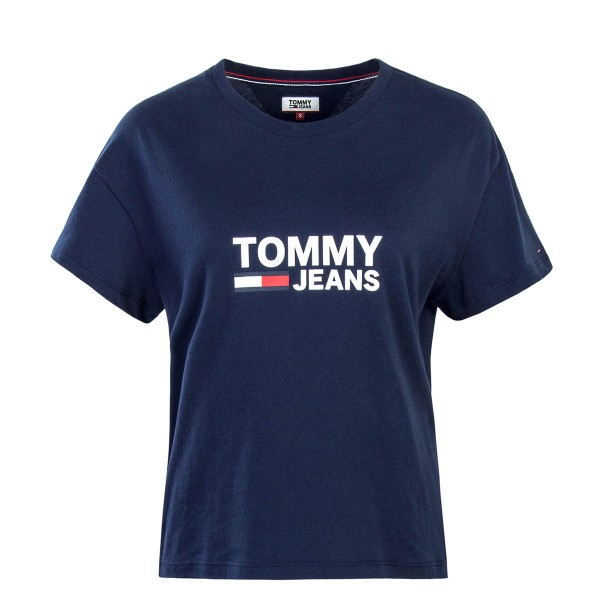 Tommy Wmn TS Crop Flag Navy
