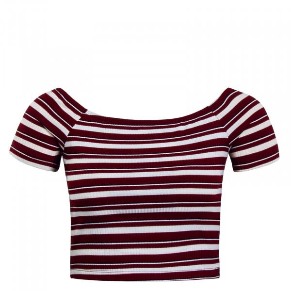 Damen T-Shirt  Off Shoulder Day Bordeaux White