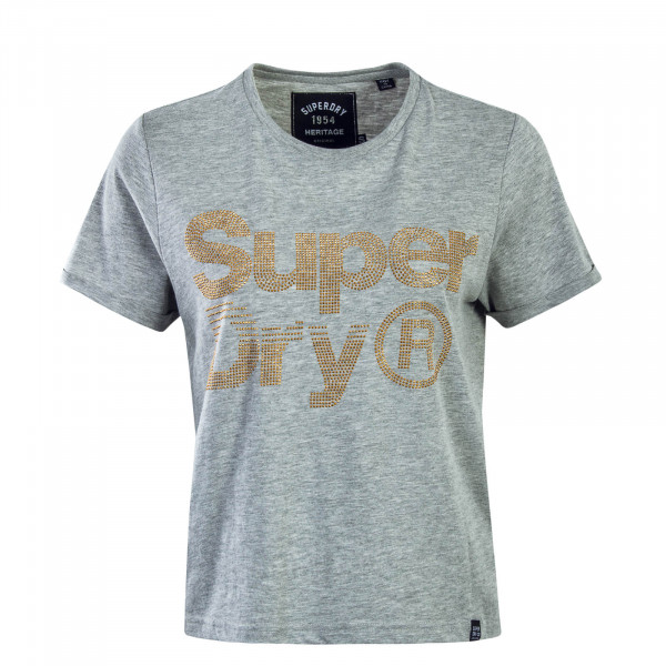 Damen T-Shirt Rhinestone Grey