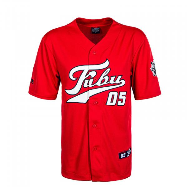 Herren T-Shirt Varsity Baseball Jersey Red White Black