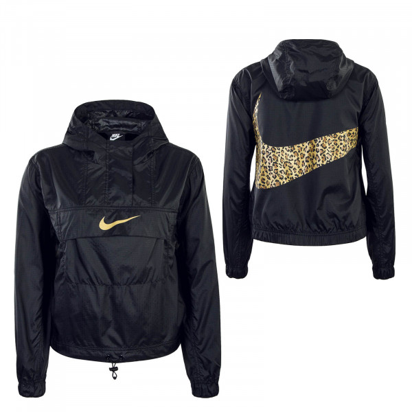 Damen Windbreaker Animal Black Leo