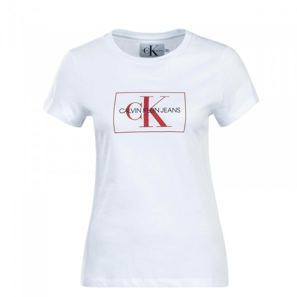 CK Wmn TS Outline White Red