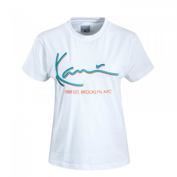 Damen T-Shirt Signature White Orange