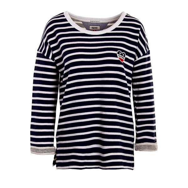 Tommy Wmn Sweat Crop THDW Stripe NavyWht
