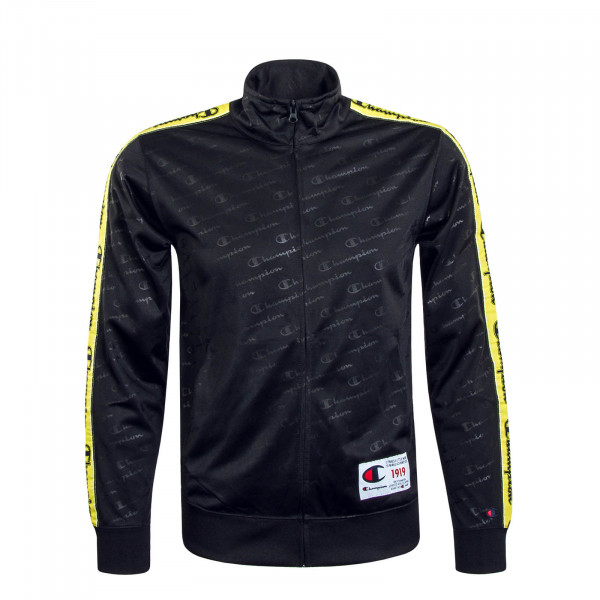 Herren Sweatjacke Zip Allover Black Yellow